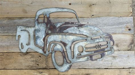 thin rusted metal ford truck shape only rustic metal letters wall
