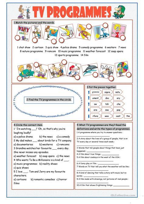 tv programmes vocabulary exercises worksheet free esl