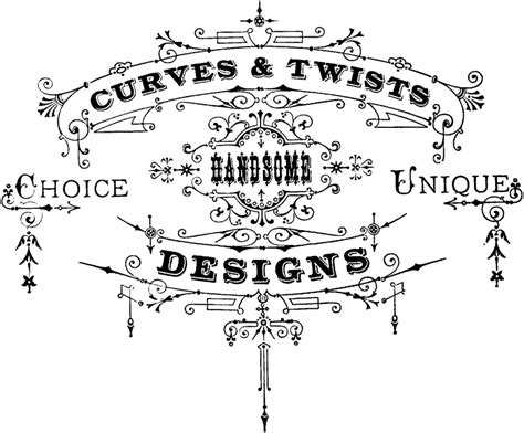 vintage typography ornaments clip art oh so nifty vintage graphics