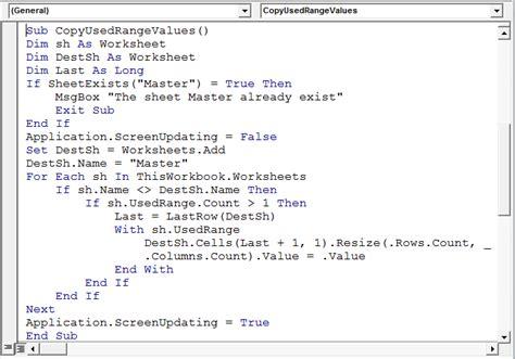Excel Vba On Error Resume Next Goto 0 by Copy The Usedrange Of Each Sheet Into One Sheet Using Vba