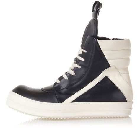 Rick Owens Men Geobasket Leather Sneakers Spence Outlet