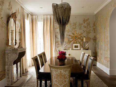 lavish gold dining room  eye catching chandelier hgtv