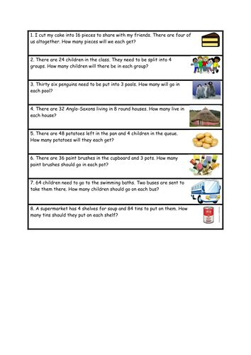division word problems differentiated by karenstanton