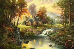 christian bauer rings kinkade mountain retreat painting mountain