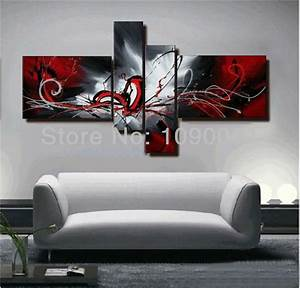 Hand painted abstract canvas painting oil black white and