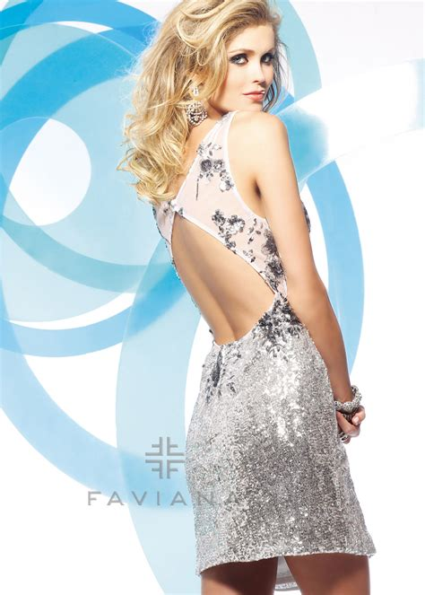 Faviana Glamour S7159 - Sequin Silver Mesh Prom Dress with ...