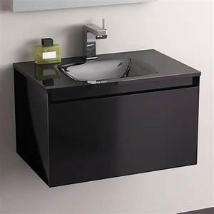 Meuble Vasque 60 Cm : pack promo meuble glass 60 noir robinet armoirette ~ Dailycaller-alerts.com Idées de Décoration
