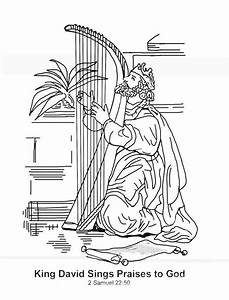 King David Sings Praises To God In The Story Of King Saul Coloring Page NetArt