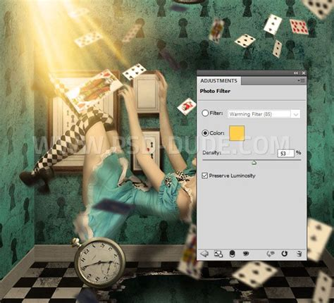 Alice In Wonderland Falling Playing Cards Photoshop