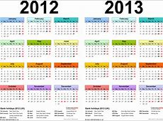 Two year calendars for 2012 & 2013 UK for Excel