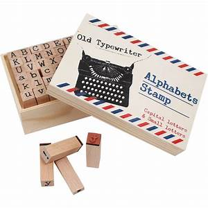 Typewriter alphabet wooden stamps 64 pack hobbycraft for Typewriter letter stamps