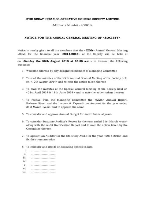 notice  annual general meeting agm