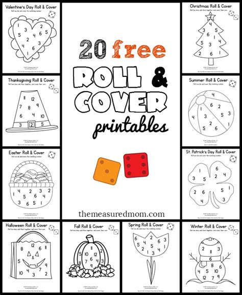 free math games for preschoolers 20 free roll and cover the measured 684