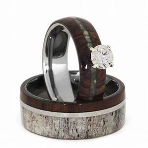 unique wedding ring set antler wedding band wood With engagement rings wedding band