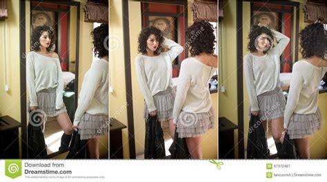 Young Woman White Blouse Gray Short Tutu Skirt