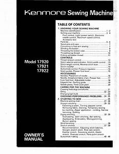 Kenmore Sewing Machine 17920 User Guide