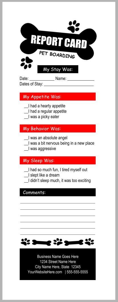 pet boarding report card templates bundleb