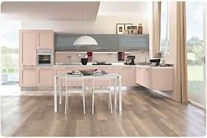 cuisine rose optez pour un decor moderne et feminin With cuisine grise et rose