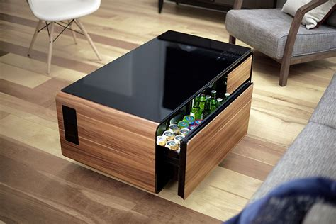 When bragging about it to friends and family, i typically refer to it as my coffee table cooler. Amazon.com: Sobro SOCTB300WDBK Coffee Table with Refrigerator Drawer Bluetooth Speakers, LED ...
