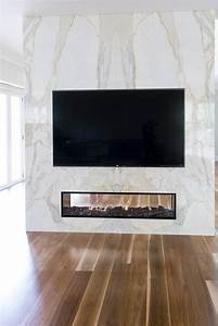Book Matched Fireplace - Calacatta Marble