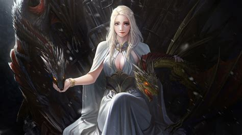 wallpaper digital art game  thrones daenerys