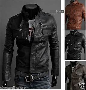 NEW 2017 Multi zipper men's motorcycle PU leather collar ...