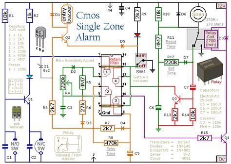 How Build Cmos Based Single Zone Alarm Circuit Diagram