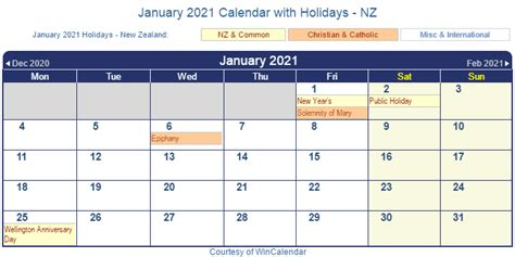 From government holidays in 2021, hindu holidays 2021 to islamic holidays 2021, christian holidays 2021 and. Print Friendly January 2021 New Zealand Calendar for printing