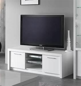 Meuble Tv Plasma Fano Laque Blanc Brillant Blanc L 150 X H