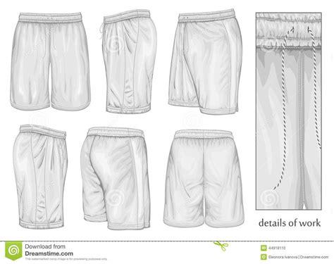 mens white sport shorts stock vector illustration