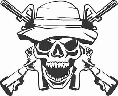 Skull Army Ranger Guns Decal Stencil Sticker