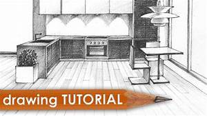 Drawing tutorial - room in one point perspective (kitchen ...