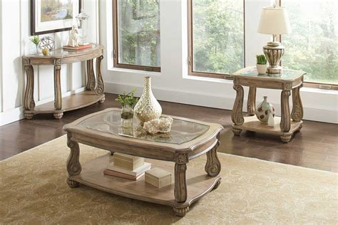 Sofa Table And End Table Set by Coaster 720598 Occasional Coffee Table Set Antique Linen