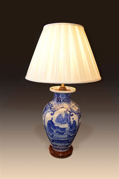 Table Vase by Antique Blue And White Vase Converted To A Table L