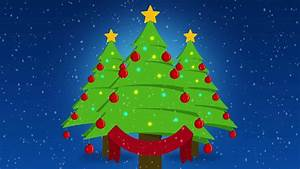 cute cartoon christmas trees over blue background with ...