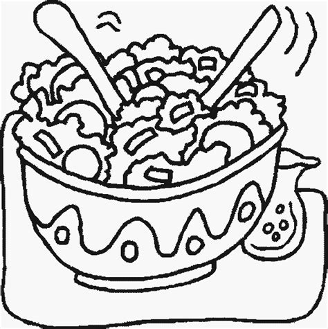 salad clipart black and white salad free printable food coloring pages