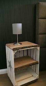 Tisch Aus Holzkisten : nachttisch beistelltisch im vintage look auf rollen tisch wird aus gebrauchter obstkiste und ~ Frokenaadalensverden.com Haus und Dekorationen