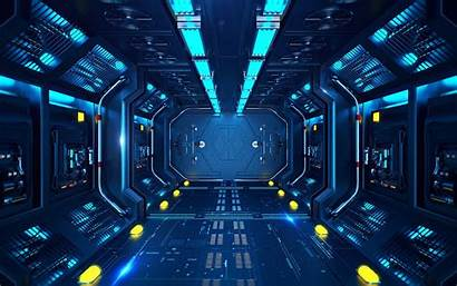 Sci Fi Corridor Tunnel Station Spaceship Widescreen