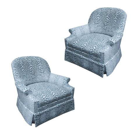 pair of kravet upholstered lounge swivel chairs for sale