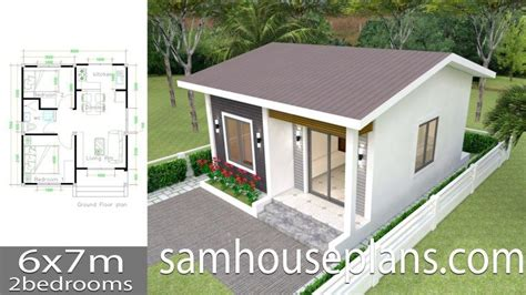 House Plans 6x7m with 2 bedrooms (With images) Simple