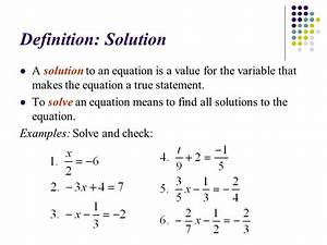 9 1  U2013 Solving Equations