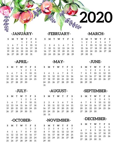 printable calendar yearly page floral paper trail design