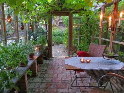 amazing greenhouse garden room with lantern lights