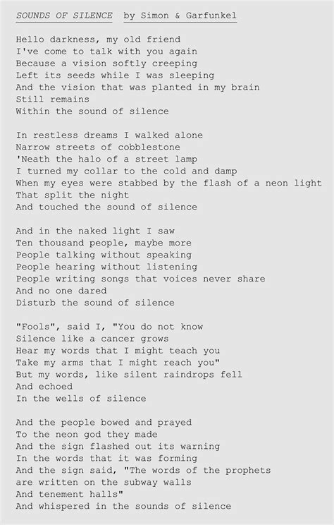 the sound of silence testo in italiano lyrics to sounds of silence by simon garfunkel