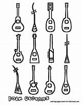 Coloring Guitar Instrument Musical Instruments Pages Music Guitars Printables Acoustic Draw Print Printable Sheets String Sheet Boys Yescoloring Types Many sketch template