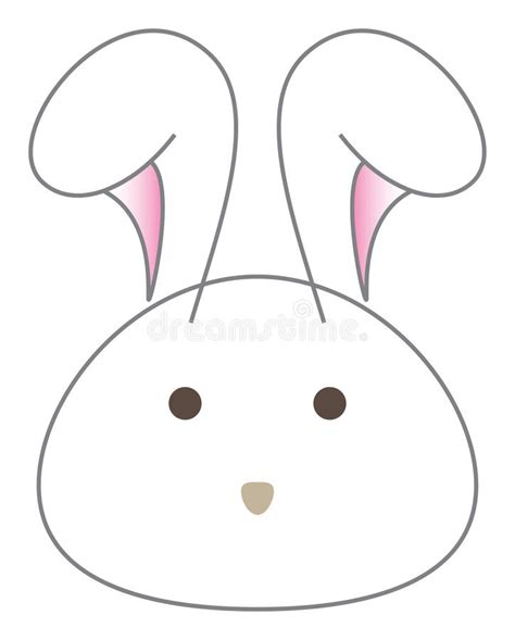 white rabbit cartoon head vector stock vector