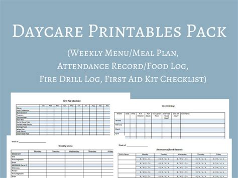 Blank Daycare Menu Template by Daycare Menu Templates 11 Free Printable Pdf Documents