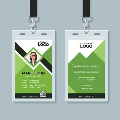 creative green id card design template stock illustration