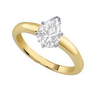 gold pear engagement rings engagement ring pear shape classic solitaire engagement ring dome tapered band in 18k