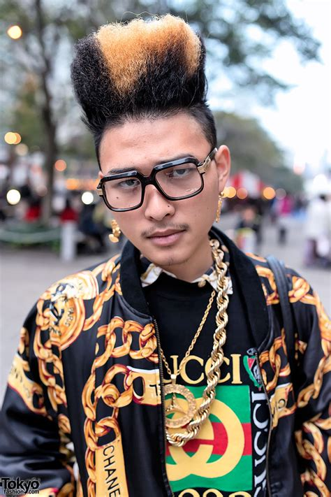 top fade gold chains  hip hop inspired street style